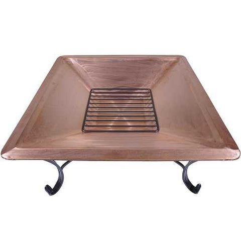 Image of Square 33-inch Solid Copper Fire Pit Bowl with Iron Stand and Screen