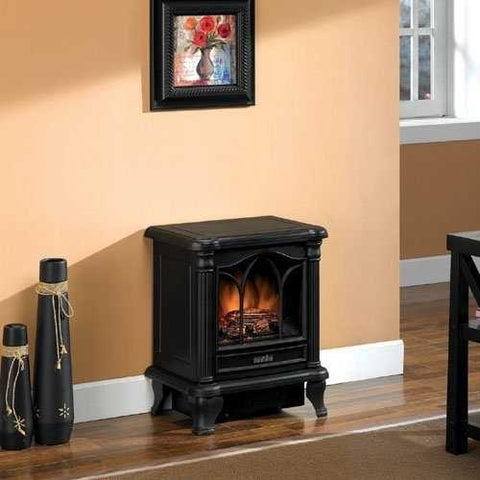 Black Freestanding Electric Stove Style Fireplace Space Heater