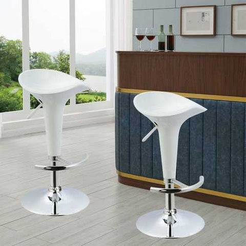 Image of Set of 2 Modern Adjustable Height Barstools in White