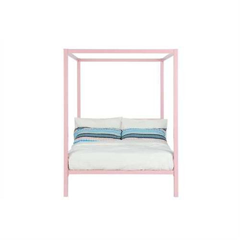 Image of Full size Modern Pink Metal Canopy Bed