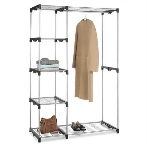 Image of Freestanding Closet Organizer Garment Rack Storage Unit with Hanging Rods