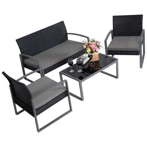 4 Piece Black / Gray Complete Patio Rattan Set with Matching Table