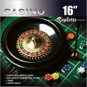 16-inch Roulette Wheel Full Size Game Set 3'x6' Felt Layout & Rake