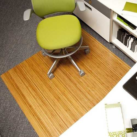 Image of Eco-Friendly Bamboo Rectangular Chair Mat in Natural