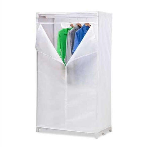 36-inch White Portable Closet Clothes Organizer Wardrobe