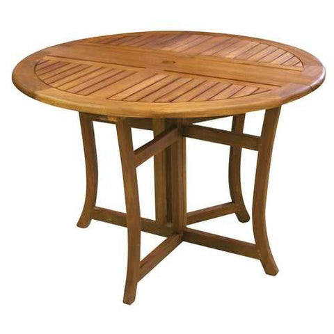 Outdoor Folding Wood Patio Dining Table 43-inch Round with Umbrella Hole