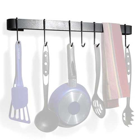 Wall Mounted Kitchen Pot Rack with 8 Hooks and Drywall Anchors