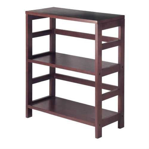 Contemporary 3-Tier Bookcase Storage Shelf in Espresso Wood Finish