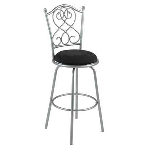 Brushed Silver Metal 30-inch Barstool with Black Microfiber Swivel Seat