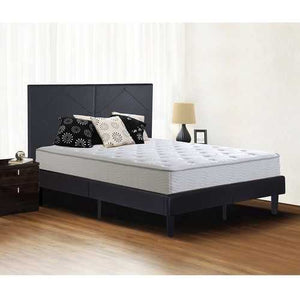 Full size Black Faux Leather Platform Bed Frame with Upholstered Headboard