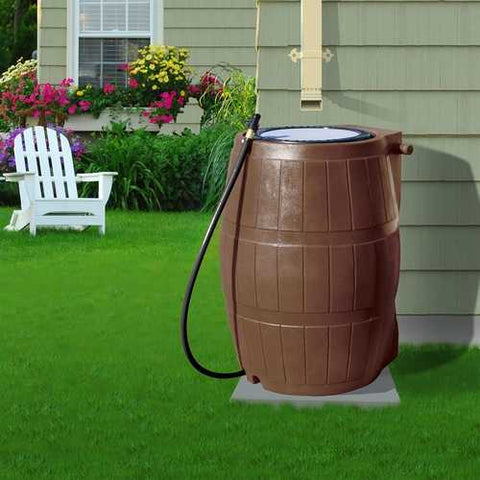 Image of 50-Gallon Brown UV Resistant Plastic Rain Barrel with 3-Ft Hose and Shutoff Valve