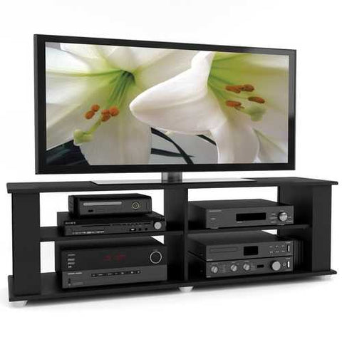 Image of Modern Black TV Stand - Fits up to 68-inch TV