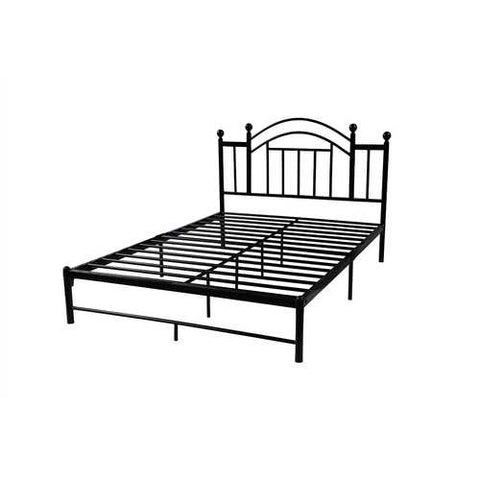 Image of Full size Black Platform Bed Frame with Metal Slats and Headboard