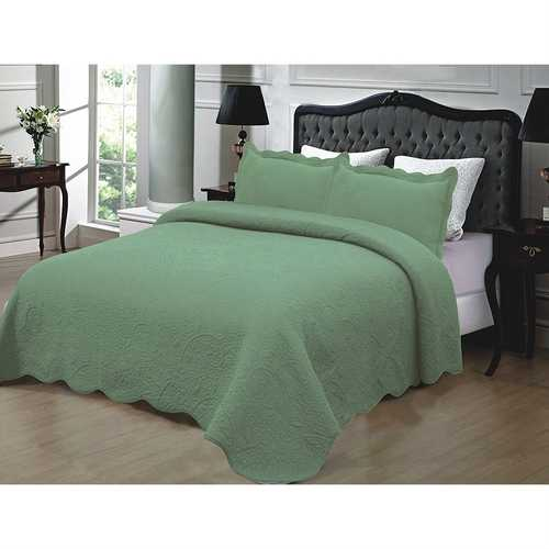 Full / Queen 3-piece Quilted Cotton Bedspread with Shams in Sage Green