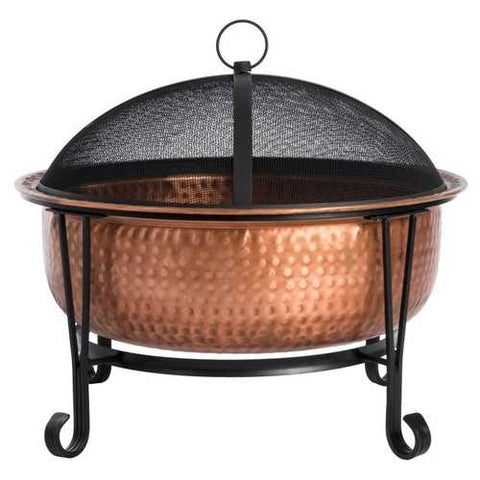 Hammered Copper Fire Pit with Wrought Iron Stand and Spark Screen