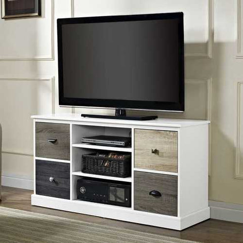 Image of White Wood Finish TV Stand with Multi Wood Grain Finish Drawer Door Fronts