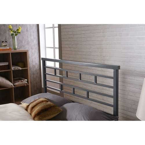 Image of Full Metal Platform Bed Frame with Headboard in Modern Titanium Silver Finish