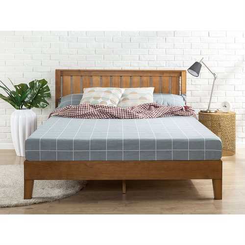 Full size Solid Wood Platform Bed Frame with Headboard in Medium Brown Finish