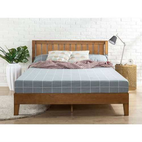 Image of Full size Solid Wood Platform Bed Frame with Headboard in Medium Brown Finish