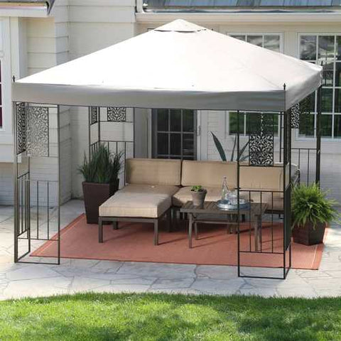 Image of 10-ft x 10-ft Backyard Patio Garden Outdoor Gazebo with Steel Frame and Vented Canopy