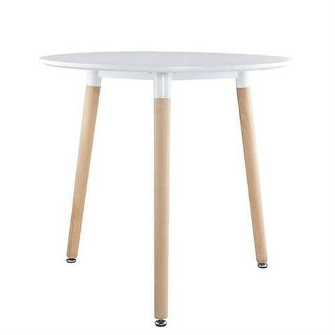 Mid-Century Modern 31.5-inch Round Dining Table in White with Wood Legs