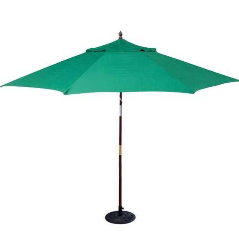 Image of 11-Ft Wood Patio Umbrella with Green Canopy - Commercial Grade
