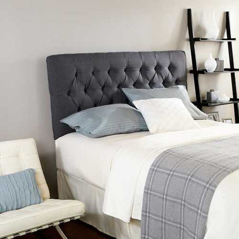 Queen size Padded Button Tufted Upholstered Headboard in Charcoal