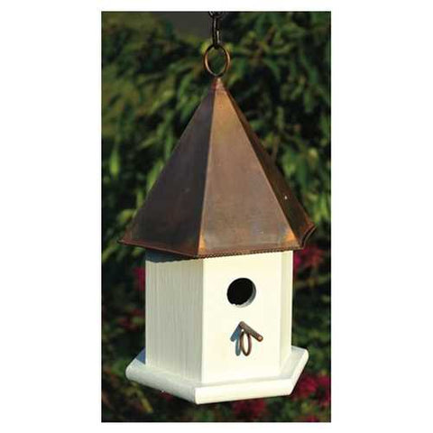 Image of White Wood Songbird Birdhouse with Brown Copper Roof