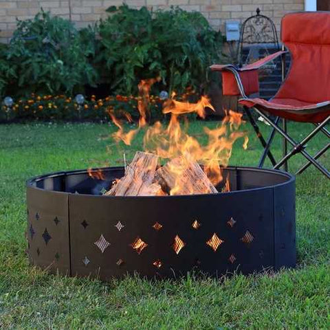 Image of Heavy Duty 36-inch Black Steel Fire Pit Ring with Diamond Pattern