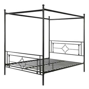 Queen size Classic Style Canopy Bed Frame in Black Metal Finish