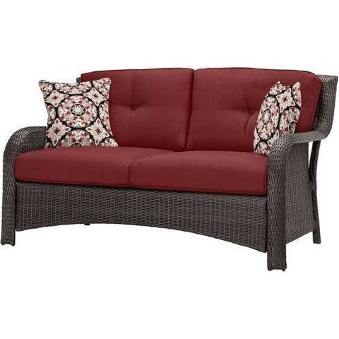 Brown Resin Wicker 6-Piece Patio Furniture Lounge Set with Red Seat Cushions