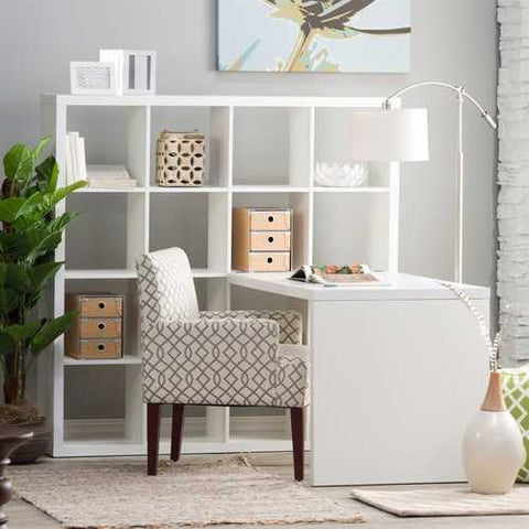 Image of Modern Computer Desk with Honeycomb Style Wall Bookcase in White
