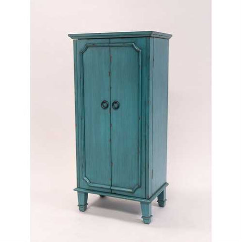 Image of Vintage Turquoise Hand Painted Jewelry Armoire with Antique Drawer Pulls