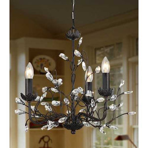 3-Light Iron and Crystal Chandelier