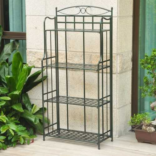 Dark Green Powdercoated Iron Folding Bakers Rack for Outdoor or Indoor Use