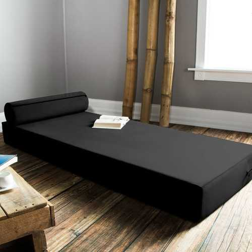 Twin size Modern Foam Daybed with Bolster Pillow in Black