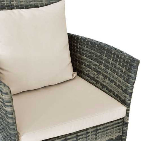 3 Piece Gray Brown Patio Rattan Chairs and Table Set with Cushions