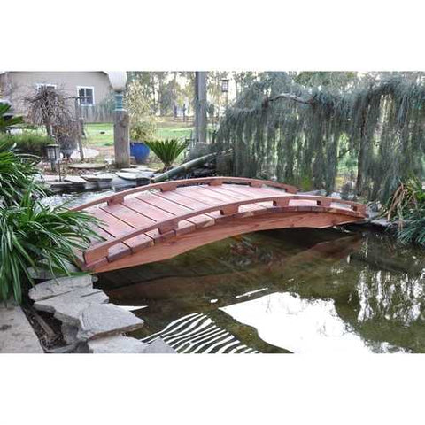 Image of Japanese Style Functional 4-Ft Wood Garden Bridge in Outdoor Sealed Redwood
