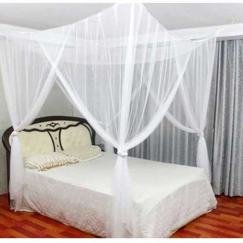 White Mosquito Net Bed Canopy Mesh Netting - size Full Queen King