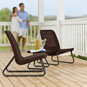 3-Piece Outdoor Patio Furniture Set in Brown Woven Rattan Resin