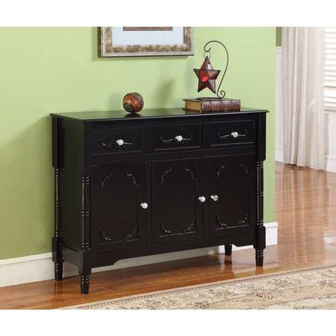 Image of Solid Wood Black Finish Sideboard Console Table with Storage Drawres
