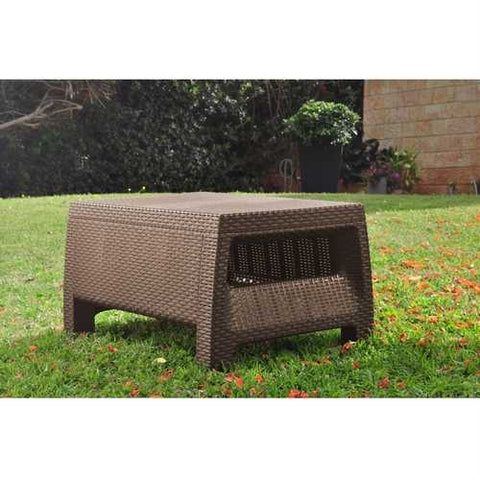Image of Modern Patio Table Ottoman in Brown Outdoor Weather Resistant Plastic Rattan