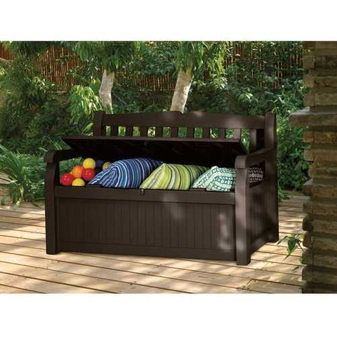 Image of Brown Resin Outdoor Patio Garden Bench with Storage Box