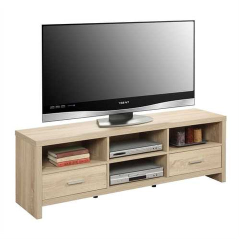 Image of Light Wood-grain Modern 60-inch TV Stand Entertainment Center