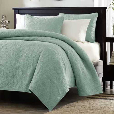 Image of King size Seafoam Green Blue Coverlet Set with Quilted Floral Pattern