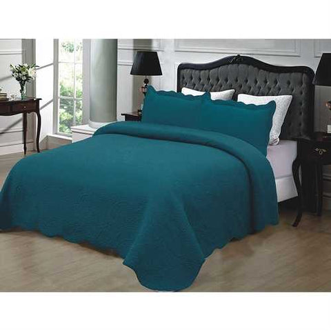 King size 3-Piece Turquoise 100% Cotton Quilted Bedspread with Shams