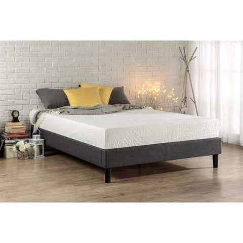 Image of King size Grey Upholstered Platform Bed Frame with Mid-Century Style Legs