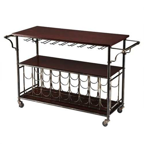 Image of Wood Top Kitchen Island Wine Rack Cart with Storage Shelf