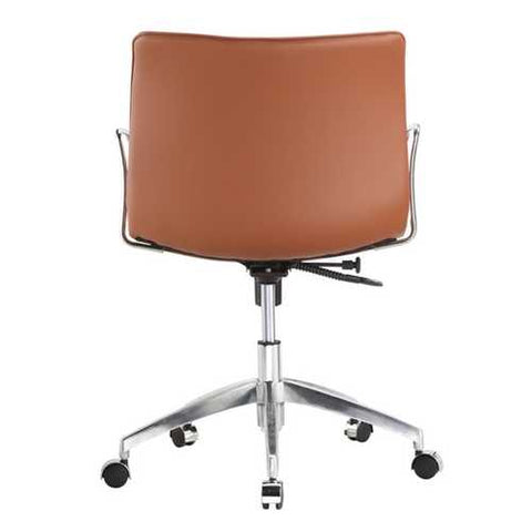 Image of Light Brown Faux Leather Modern Mid-Century Style Mid-Back Office Chair with Arms
