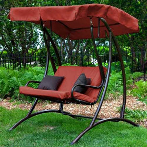 2-Seat Outdoor Porch Swing with Canopy in Terracotta Red